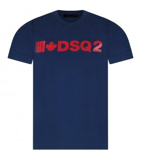 Blue boy T-shirt with red logo and maple leaf