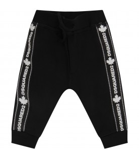 Black sweatpant for baby boy with white logo