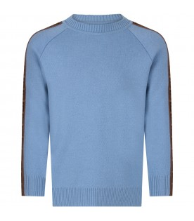 Light blue kids sweater with double FF
