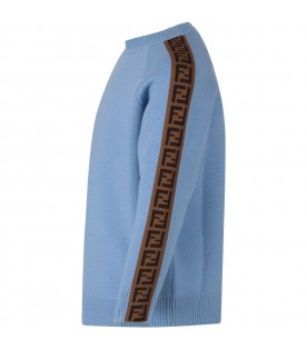 Light blue sweater with double FF for boy