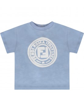 Light blue T-shirt with white logo for baby boy