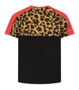 Black T-shirt for boy with animalied print
