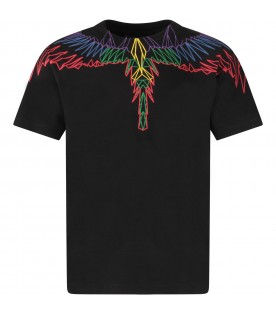 Black boy T-shirt with colorful iconic wings