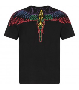 Black T-shirt for boy with colorful iconic wings