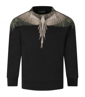 Black sweatshirt for boy with iconic wings