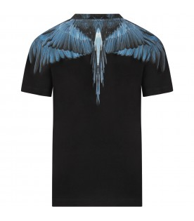 Black T-shirt for boy with light blue iconic wings
