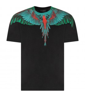 Black T-shirt for boy with green and red iconic wings