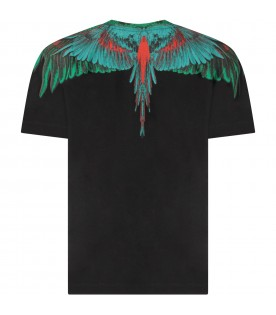 Black boy T-shirt with green and red iconic wings