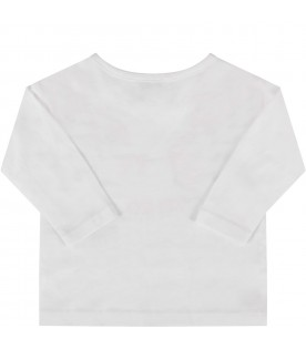 White T-shirt for baby girl with pink tiger