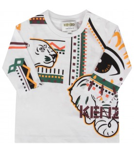 White T-shirt for baby kid with tigers and elephant