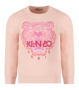 Pink girl sweatshirt with tiger