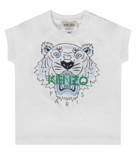 White babyboy T-shirt with light blue tiger