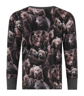 Black T-shirt for boy with bears