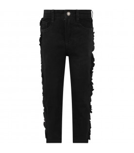 Black girl jeans with ruffle