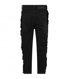 Black jeans for girl with ruffle