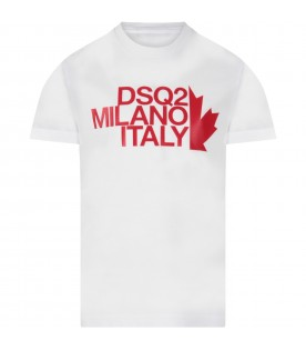 White boy T-shirt with red logo