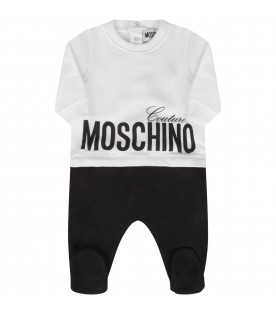 White and black babygrow with logo for baby boy