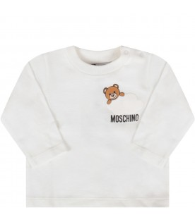 White babykids T-shirt with Teddy bear and cloud