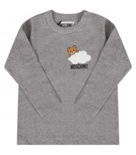 Grey babykids T-shirt with Teddy bear and cloud