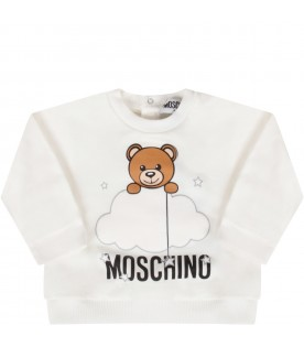 White sweatshirt with teddy bear for baby kid