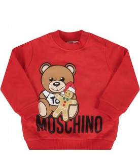 Red babykids sweatshirt with teddy bear and marzipan biscuit