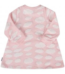 Pink dress with clouds for baby girl