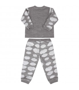 Grey babykids tracksuit with teddy bear and clouds
