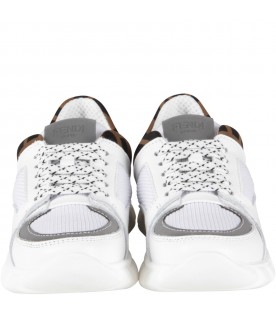 White kids sneakers with double FF