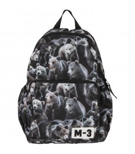 Black back pack for boy with bears