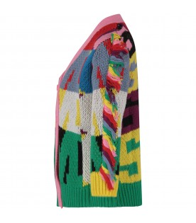 Multicolor girl cardigan with logos