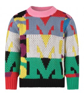 Multicolor girl sweater with logos
