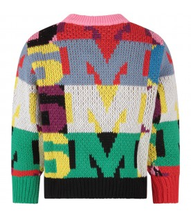 Multicolor sweater for girl with logos