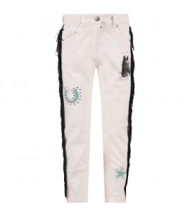 Pink jeans for girl with fringes