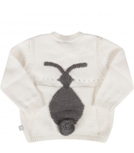 Ivory babykids sweater with bunny