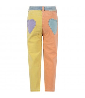 Jeans color block per bambina