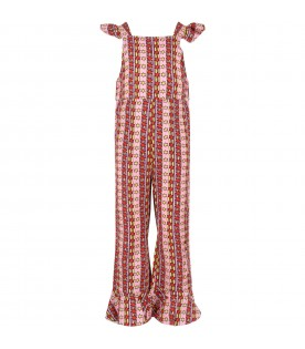 Pink and lilac jumpsuit for girl with stars
