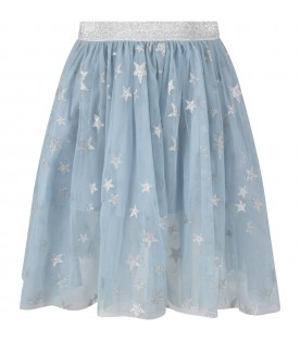 Light blue skirt for girl with silver stars