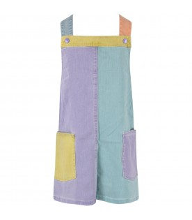 Color block girl overalls