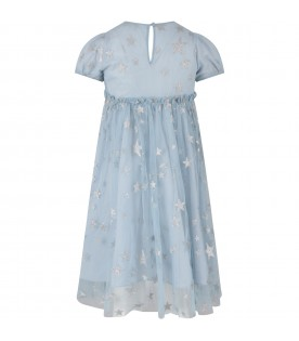 Light blue girl dress with stars