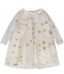 White babygirl dress with stars