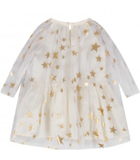 White dress for baby girl with stars