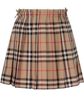 Beige skirt with vintage checks for girl