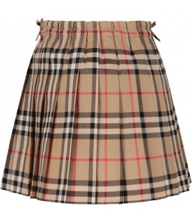 Beige girl skirt with vintage checks