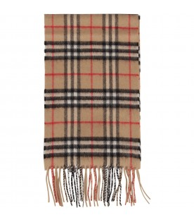 Beige scarf with check for kid