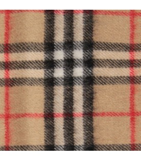 Beige kids scarf with check