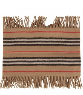 Beige kids scarf with stripes