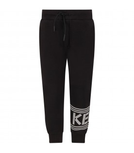 Black kids pants with logo