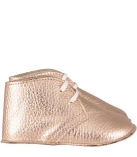 Pink-gold shoes for baby girl
