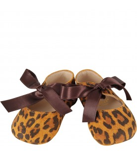 Beige and brown babygirl ballerina shoes