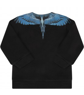 Black sweatshirt for baby boy with light blue wings